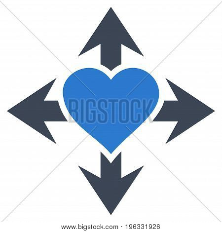 Expand Love Heart flat icon. Vector bicolor smooth blue symbol. Pictograph is isolated on a white background. Trendy flat style illustration for web site design, logo, ads, apps, user interface.