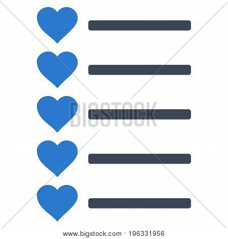 Favourites List flat icon. Vector bicolor smooth blue symbol. Pictogram is isolated on a white background. Trendy flat style illustration for web site design, logo, ads, apps, user interface.
