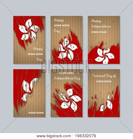 Hong Kong Patriotic Cards For National Day. Expressive Brush Stroke In National Flag Colors On Kraft
