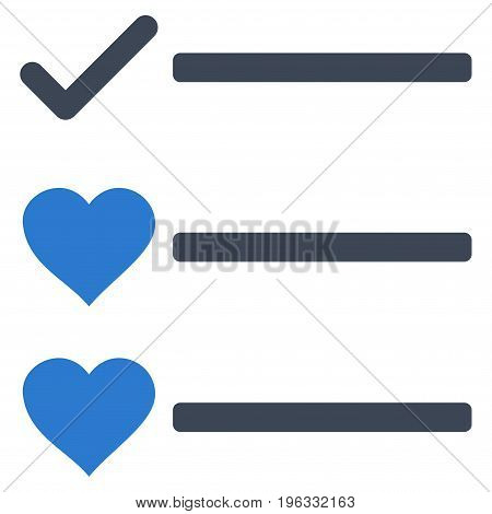Love List flat icon. Vector bicolor smooth blue symbol. Pictogram is isolated on a white background. Trendy flat style illustration for web site design, logo, ads, apps, user interface.