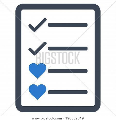 Lovely List Page flat icon. Vector bicolor smooth blue symbol. Pictograph is isolated on a white background. Trendy flat style illustration for web site design, logo, ads, apps, user interface.