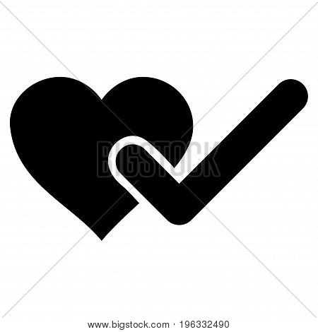 Checked Love Heart flat icon. Vector black symbol. Pictogram is isolated on a white background. Trendy flat style illustration for web site design, logo, ads, apps, user interface.