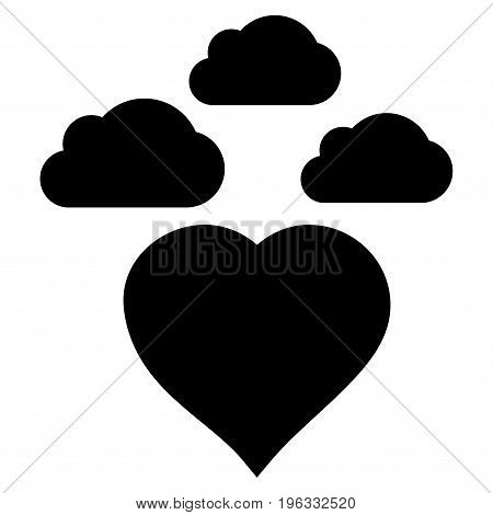 Cloudy Love Heart flat icon. Vector black symbol. Pictograph is isolated on a white background. Trendy flat style illustration for web site design, logo, ads, apps, user interface.