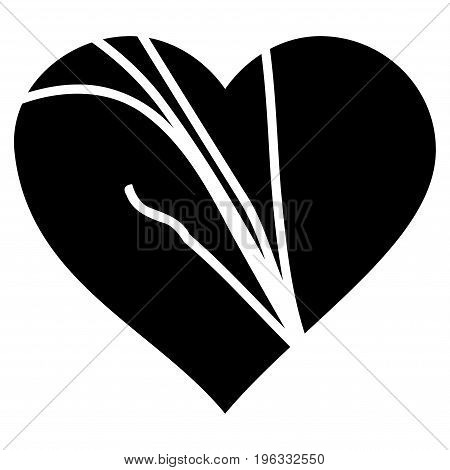 Damaged Love Heart flat icon. Vector black symbol. Pictogram is isolated on a white background. Trendy flat style illustration for web site design, logo, ads, apps, user interface.