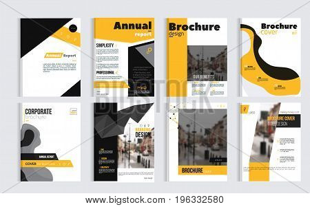 Business Brochure cover design with blured photo and simple shapes. Minimalistic design of annual repport