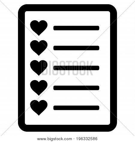 Favourites List Page flat icon. Vector black symbol. Pictogram is isolated on a white background. Trendy flat style illustration for web site design, logo, ads, apps, user interface.