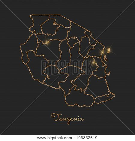 Tanzania Region Map: Golden Glitter Outline With Sparkling Stars On Dark Background. Detailed Map Of