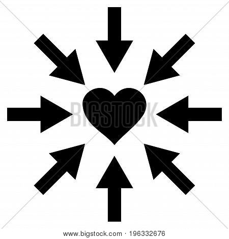 Impact Love Heart flat icon. Vector black symbol. Pictograph is isolated on a white background. Trendy flat style illustration for web site design, logo, ads, apps, user interface.