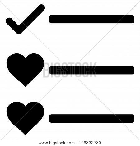 Love List flat icon. Vector black symbol. Pictogram is isolated on a white background. Trendy flat style illustration for web site design, logo, ads, apps, user interface.