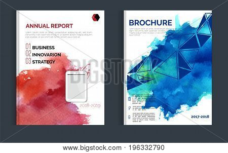 Impressive watercolor brochure design with blue and red stain for your promotion.