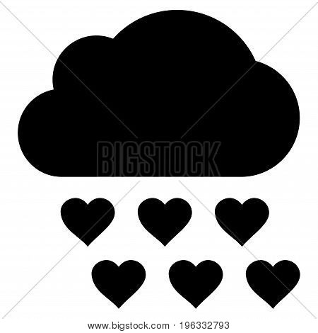 Love Rain Cloud flat icon. Vector black symbol. Pictogram is isolated on a white background. Trendy flat style illustration for web site design, logo, ads, apps, user interface.