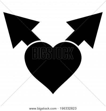 Love Variant Arrows flat icon. Vector black symbol. Pictogram is isolated on a white background. Trendy flat style illustration for web site design, logo, ads, apps, user interface.