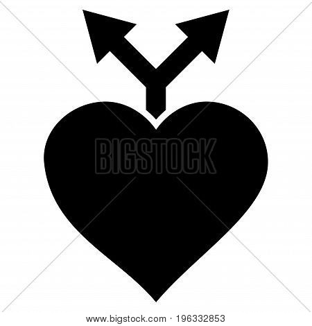 Love Variants flat icon. Vector black symbol. Pictograph is isolated on a white background. Trendy flat style illustration for web site design, logo, ads, apps, user interface.