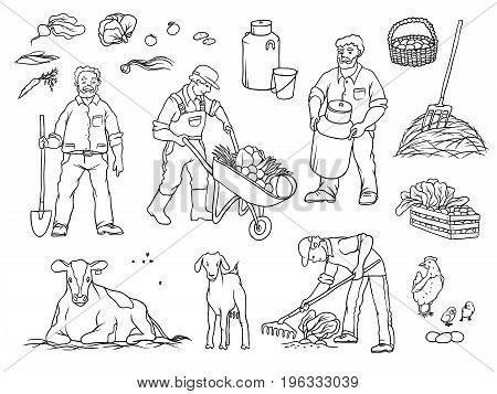 Vector sketch set black and white isolated illustration of farmers and farm animals. Man with shovel, cart with vegetables. Working in garden, milk cow and goat, harvests and breeding chickens