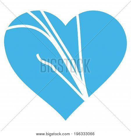 Damaged Love Heart flat icon. Vector blue symbol. Pictograph is isolated on a white background. Trendy flat style illustration for web site design, logo, ads, apps, user interface.
