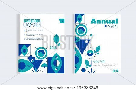 Stylish Business Brochure cover design with geometric background and simple shapes. Minimalistic design of annual report in trendy scandinavian style.