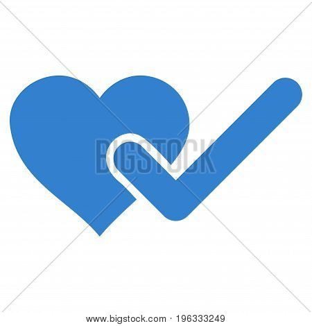 Checked Love Heart flat icon. Vector cobalt symbol. Pictograph is isolated on a white background. Trendy flat style illustration for web site design, logo, ads, apps, user interface.