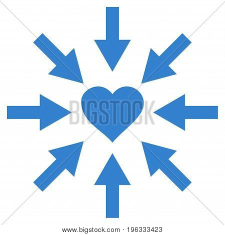 Impact Love Heart flat icon. Vector cobalt symbol. Pictogram is isolated on a white background. Trendy flat style illustration for web site design, logo, ads, apps, user interface.