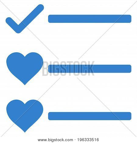 Love List flat icon. Vector cobalt symbol. Pictogram is isolated on a white background. Trendy flat style illustration for web site design, logo, ads, apps, user interface.