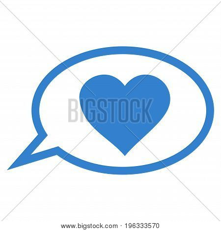 Love Message Balloon flat icon. Vector cobalt symbol. Pictograph is isolated on a white background. Trendy flat style illustration for web site design, logo, ads, apps, user interface.