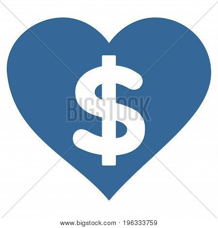 Paid Love flat icon. Vector cobalt symbol. Pictograph is isolated on a white background. Trendy flat style illustration for web site design, logo, ads, apps, user interface.