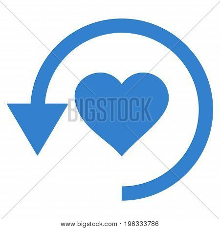 Refresh Love flat icon. Vector cobalt symbol. Pictograph is isolated on a white background. Trendy flat style illustration for web site design, logo, ads, apps, user interface.