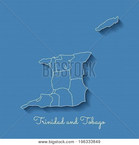 Trinidad And Tobago Region Map: Blue With White Outline And Shadow On Blue Background. Detailed Map