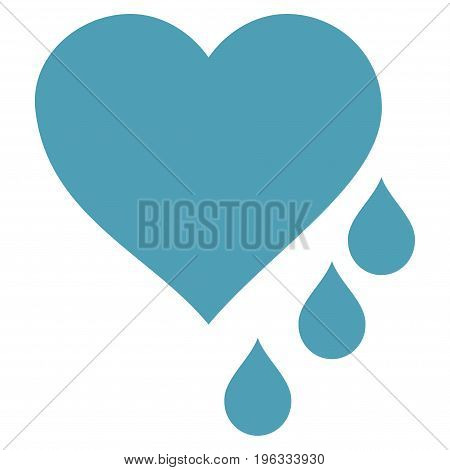 Heart Blood Drops flat icon. Vector cyan symbol. Pictograph is isolated on a white background. Trendy flat style illustration for web site design, logo, ads, apps, user interface.