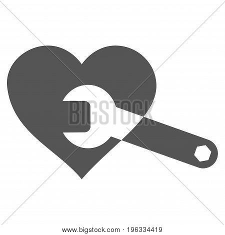Heart Surgery Wrench flat icon. Vector gray symbol. Pictogram is isolated on a white background. Trendy flat style illustration for web site design, logo, ads, apps, user interface.