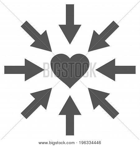Impact Love Heart flat icon. Vector gray symbol. Pictograph is isolated on a white background. Trendy flat style illustration for web site design, logo, ads, apps, user interface.