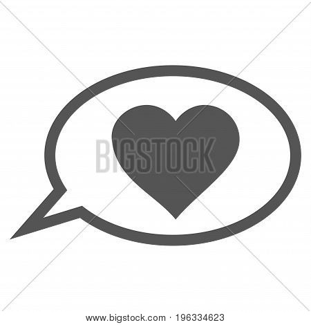Love Message Balloon flat icon. Vector gray symbol. Pictograph is isolated on a white background. Trendy flat style illustration for web site design, logo, ads, apps, user interface.