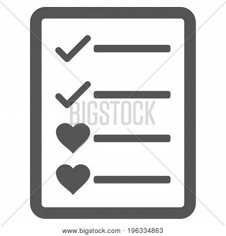 Lovely List Page flat icon. Vector gray symbol. Pictogram is isolated on a white background. Trendy flat style illustration for web site design, logo, ads, apps, user interface.