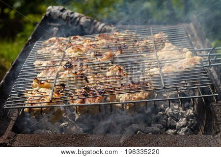 Chicken meat fried on a barbecue grill. Outdoors