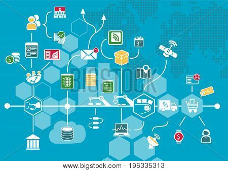 Internet of things (IOT) and digital business process automation concept supporting industrial value chain. Vector illustration as infographic.
