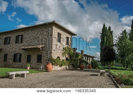 Tuscany, Italy - May 16, 2013. Close-up of villa with typical house of the Tuscan countryside, an unbelievable and traditional region in the center of the Italian Peninsula. Near the city of Siena