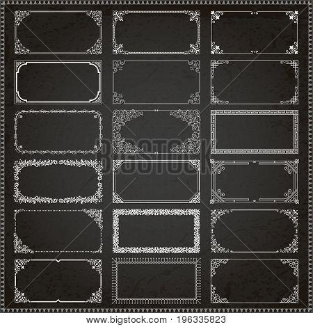 Decorative vintage frames borders backgrounds rectangle 2x1 proportions set vector