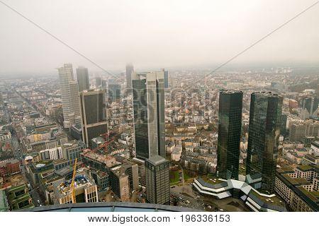 Frankfurt, Germany  - June, 2016: financial district aerial view.
