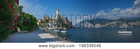 Lakeside Walkway Malcesine With View To Scaligero Castle
