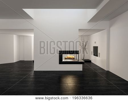 Large unfurnished empty open plan living room interior with white walls, wood floor and a fire burning in a central chimney below a skylight in a 3d render