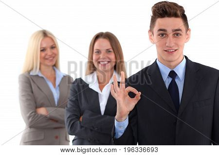Group of business people, ok hand sign. Start-up concept