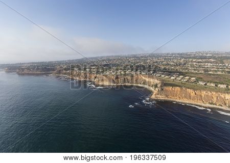 California coast aerial view of Rancho Palos Verdes in Los Angeles County.