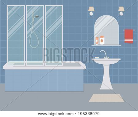 Bathroom in a blue color. There is a bathtub, a wash basin, a mirror and other objects in the picture. Vector flat illustration.