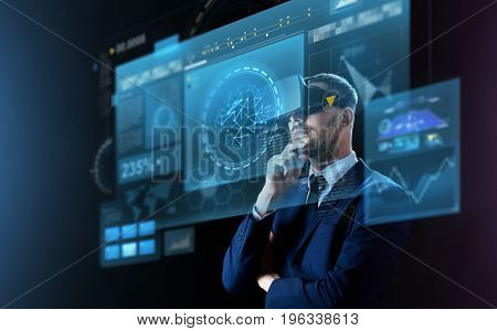 business, people, augmented reality and modern technology concept - businessman in virtual headset looking at screens projection over black background