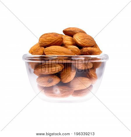 Close up of nuts in saucepan on white background. High resolution photo.