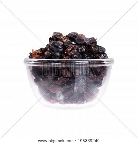 White background with saucepan of raisins. High resolution photo.