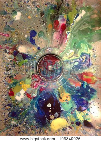 Paint dripping splatter spilled in art room sink