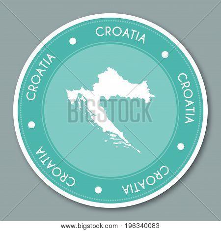Croatia Label Flat Sticker Design. Patriotic Country Map Round Lable. Country Sticker Vector Illustr