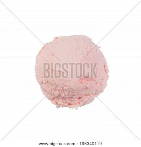 Raspberry ice-cream on white background. High resolution photo.
