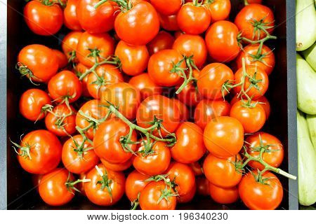 Tomatoes Are On The Shelves In The Supermarket