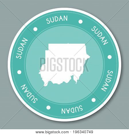Sudan Label Flat Sticker Design. Patriotic Country Map Round Lable. Country Sticker Vector Illustrat
